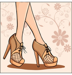 Elegant woman legs in ankle boot vector image
