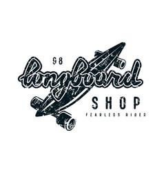 Emblem with lettering for longboard shop vector
