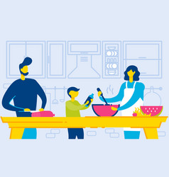 family cooking at home together healthy dinner vector image
