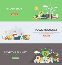 Flat designed banners Eco Energy vector