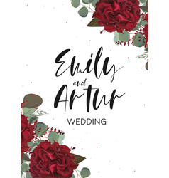 Floral wedding invite save the date card design vector