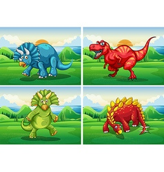 Four dinosaurs standing in the field vector