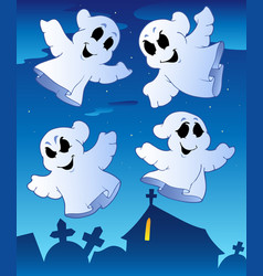 Four ghosts near cemetery vector