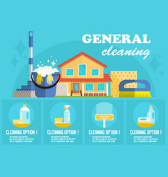 General cleaning flat vector