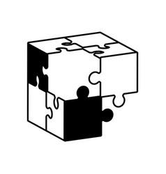 globe puzzle solution monochrome vector image
