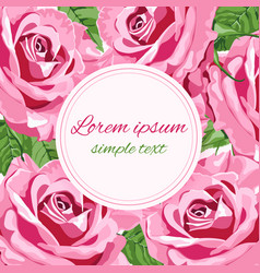 greeting card with big bright pink roses vector image