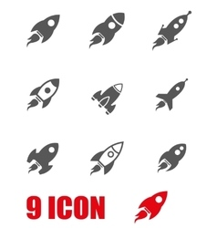 grey rocket icon set vector image