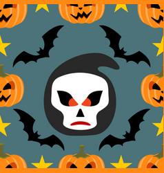 Halloween background seamless with scytheman vector