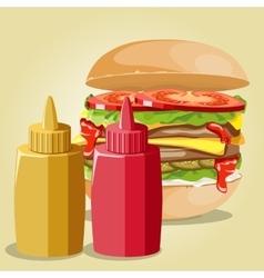hamburger and sauces set vector image