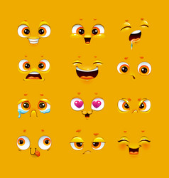humorous emoji set cute emoticon face collection vector image