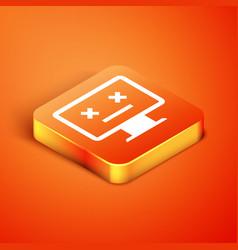 Isometric dead monitor icon isolated on orange vector