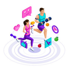 isometric girl and man run jump couple on a run vector image