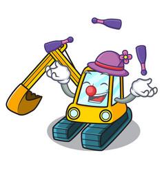 juggling excavator mascot cartoon style vector image