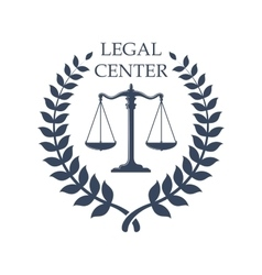 Legal center emblem with scales justice icon vector