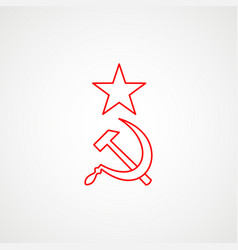 Linear icon communism hammer sickle with a vector