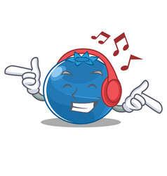 Listening music blueberry character cartoon style vector