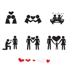 Love people icon set vector image