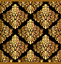 luxury decorative seamless pattern on black vector image