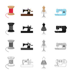 Manual sewing machine thread reel dummy on the vector
