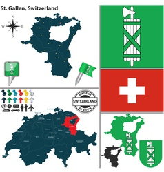 Map of St Gallen vector image