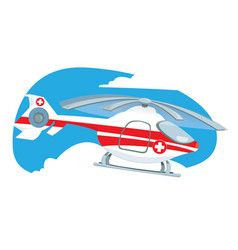 medical helicopter flying in the sky vector image