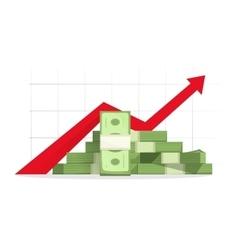 Money rising up graph arrow budget growth vector