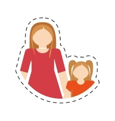 Mother and daughter relation family cut line vector
