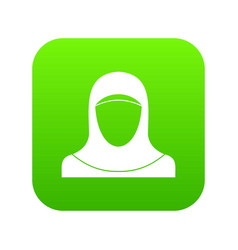 muslim women wearing hijab icon digital green vector image