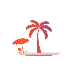 Palm travel lanscape logo vector