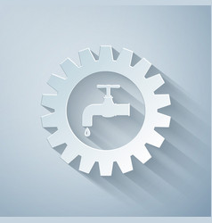 Paper cut gearwheel with tap icon isolated on grey vector