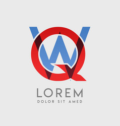 qw logo letters with blue and red gradation vector image
