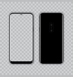 Realistic modern smart phone front and back view vector