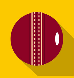 red leather cricket ball icon flat style vector image