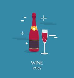 red wine beverage in paris design vector image