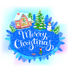 Round banner merry christmas vector