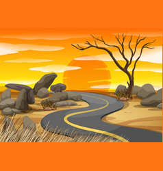 scene with road at sunset vector image