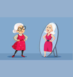 Senior woman seeing her younger self in the mirror vector