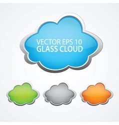 set 4 glossy clouds for text vector image