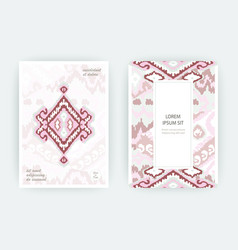 set card ethnic bohemian arabesque pattern zigzag vector image