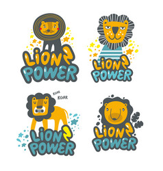 Set cute lions hand drawn in children style vector