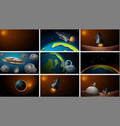 Set different space and rocket scenes vector