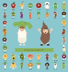 Set of 40 vegetable costume characters vector image