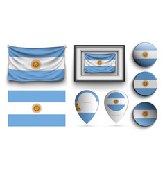 set of argentina flags collection isolated vector image