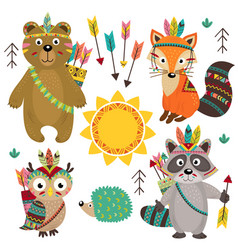 Set of isolated tribal animals part 1 vector