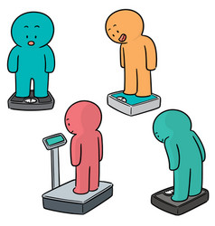 Set of people on weighing machine vector