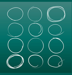 Set of the hand drawn scribble circles element on vector