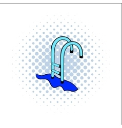 Stairs to the pool comics icon vector