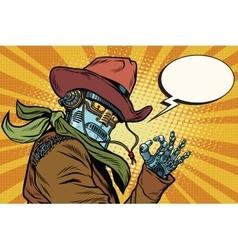 Steampunk robot cowboy okay gesture vector