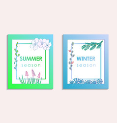 Summer and winter postcards with background vector