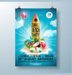 summer beach party flyer design with flower beach vector image